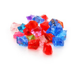 Colored assorted gemstones isolated poster