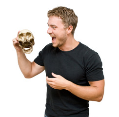 man with a skull