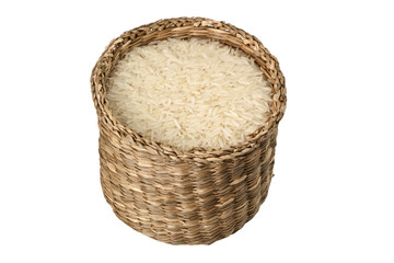 Basket of rice isolated on white background