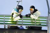 Fototapeta Two girls on chairlift
