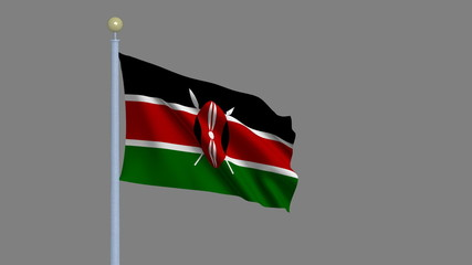 Flag of Kenya with alpha matte for easy isolation