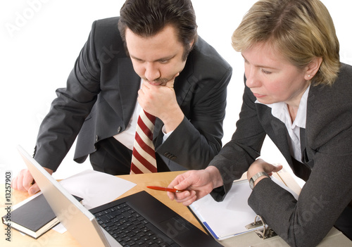 Two businesspeople working at office