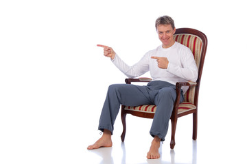 easy sportsman on chair with place for text