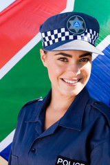 smiling young south african policewoman
