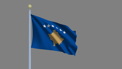 Flag of Kosovo with alpha matte for easy isolation