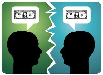 Breakdown in communication, money troubles.