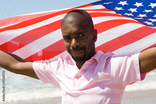 Poster american man and flag