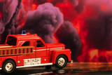 Firetruck with fire background