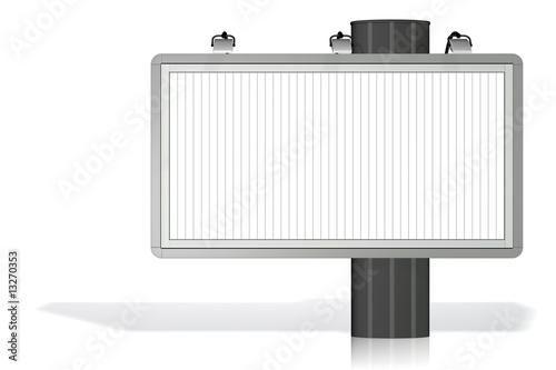 Panneau publicitaire sur fond blanc