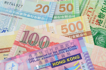 Hong Kong dollar bills closeup