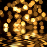 Gold spots bokeh background poster