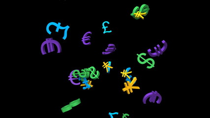 Falling colorful currency symbols, with alpha matte, loopable