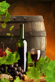 Red wine, grapevine and cask - 13276134