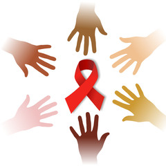 Diversity hands around AIDS symbol