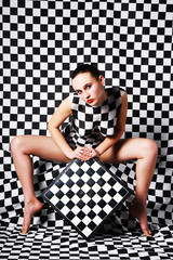 Model with chessboard