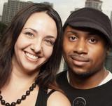 Young interracial couple poster