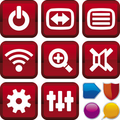 media control icon set