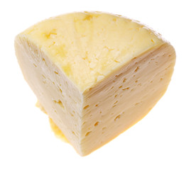 Big piece of cheese isolated on the white.