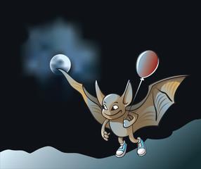 Little vampire bat flying in the moonlight holding air balloon