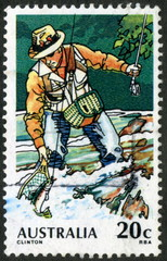 Australie. Pêche au vif. Timbre postal.