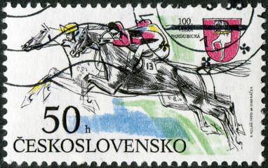 Tchécoslovaquie. Equitation. Saut. Timbre Postal.