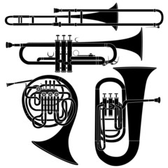 Brass musical instruments in vector silhouette