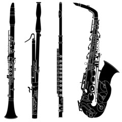 Woodwind musical instruments in vector silhouette