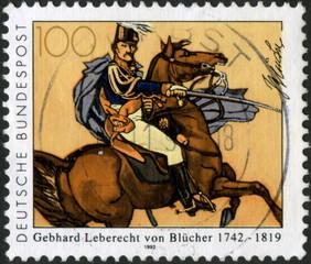 Deutsche Bundespost. Maréchal Blucher. Timbre Postal.