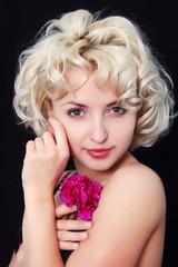 portrait of blonde girl with pink in underwear
