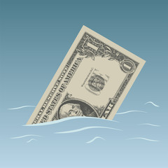 Conceptual dollar bill sinking in trouble waters