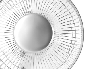 Close up of Silver Electric Fan on White Background