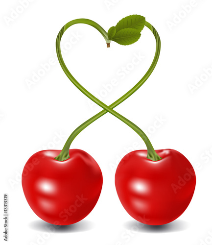 cherry heart in vector, contains gradient mesh elements
