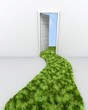 3d render of grass path leading to doorway to the clouds