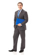 Full body portrait of businessman with folder, isolated