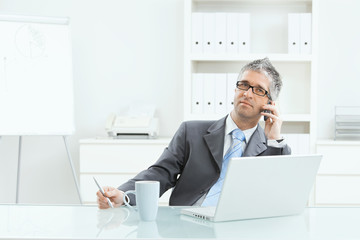 Businessman working at desk