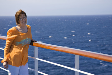 Happy woman on a cruise