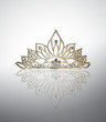 Tiara or diadem with reflection on white