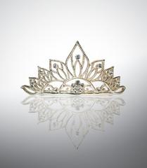 Tiara or diadem with reflection on white