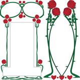 Two vector frameworks from roses in style art-nouveau poster