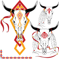 The complete set of colour vector sketches for tattoo