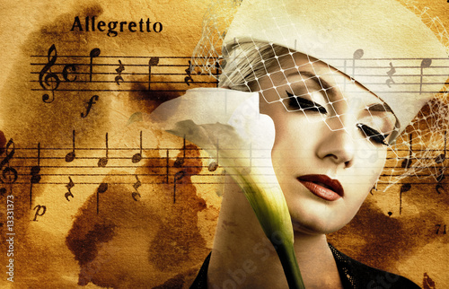 Beautiful woman over abstract melody background