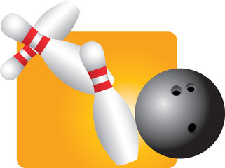 Bowling ball knocking over pins