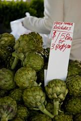 artichokes for sale at farmers market