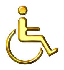 3D Golden Special Needs Symbol