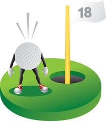 Scared golf ball