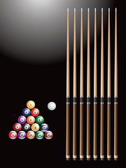 Billiard balls and sticks