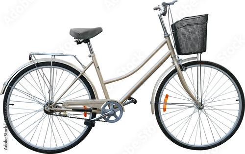 beige bike on white background - 13339188