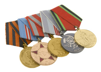 The medals of soviet heroes isolated over white background