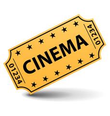 Yellow cinema ticket isolated