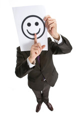 Business changes expresses emotion by means of a smilie